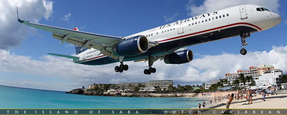 US Airways Landing at St. Maarten Dutch Caribbean