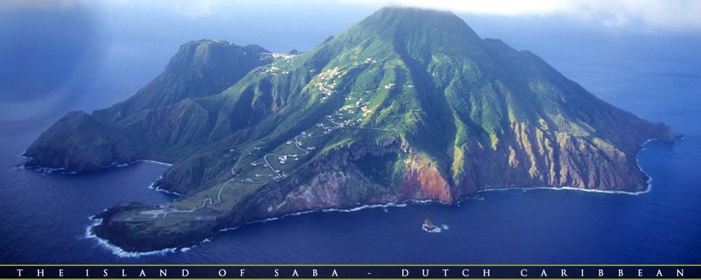 Saba Island from the air.